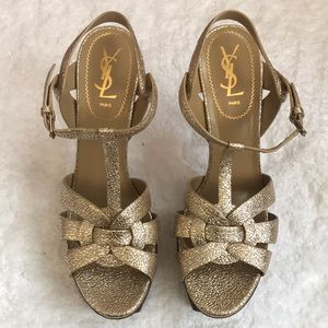 YSL TRIBUTE 105 Sandal in Sahara Gold size 42.